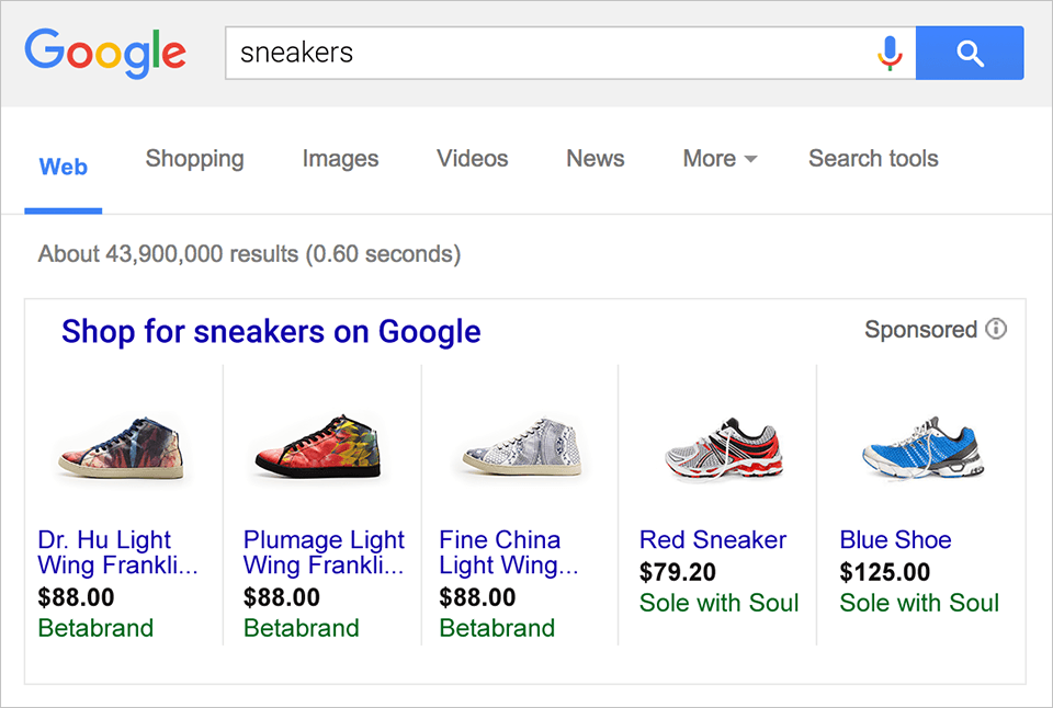google shopping zoekresultaat